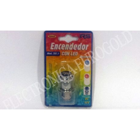 ENCENDEDOR MECHERO COCHE CON LED COLOR AZUL