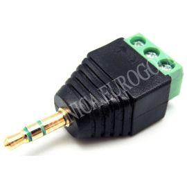 CONECTOR JACK MACHO 3,5mm ESTEREO DORADO CON TERMINALES