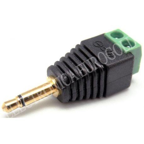 CONECTOR JACK MACHO 3,5mm MONO DORADO CON TERMINALES