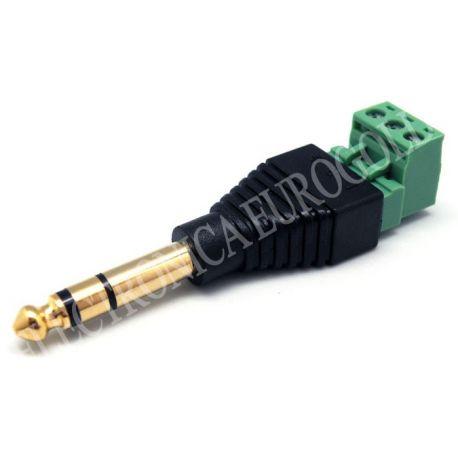 CONECTOR JACK MACHO 6,35mm ESTEREO DORADO CON TERMINALES
