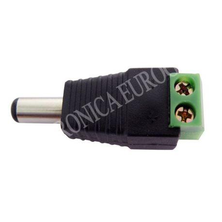 CONECTOR JACK ALIMENTACION MACHO 5,5X2,1mm CON TORNILLOS