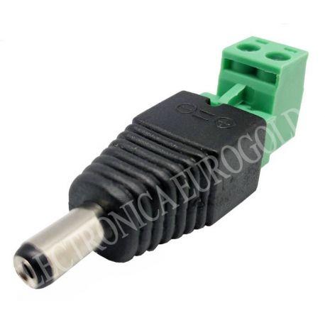 CONECTOR JACK ALIMENTACION MACHO CODO 5,5X2,1mm CON TORNILLOS