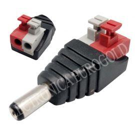CONECTOR JACK ALIMENTACION MACHO 5,5X2,1mm TERMINALES A PRESION