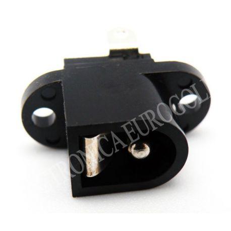 CONECTOR JACK ALIMENTACION HEMBRA PARA CHASIS PIN MACHO 2,5mm SUJECCION