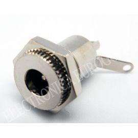 CONECTOR JACK ALIMENTACION HEMBRA PARA CHASIS PIN MACHO 2,5mm METALICA
