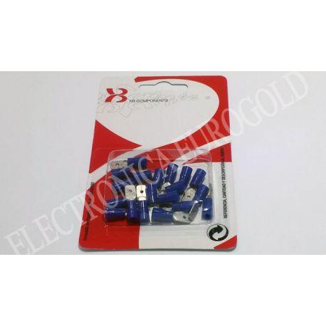 BLISTER TERMINAL FASTON MACHO AZUL 6,3mm