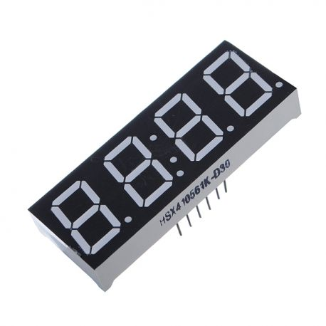 "LED DISPLAY 4X7 SEG. ANODO COMUN 0.56"" COLOR ROJO 14 PIN TIPO RELOJ"
